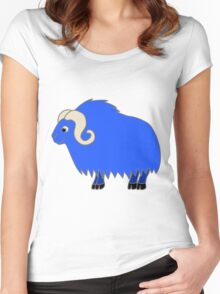 Blue Buffalo with Horns Women's Fitted Scoop T-Shirt