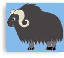 Dark Gray Buffalo with Horns Canvas Print