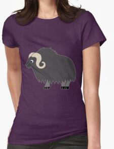 Dark Gray Buffalo with Horns Womens Fitted T-Shirt