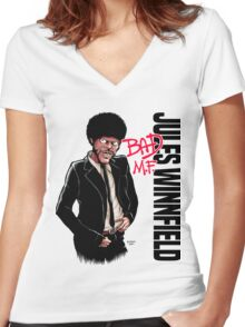 Bad M.F. Women's Fitted V-Neck T-Shirt