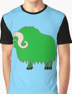 Green Buffalo with Horns Graphic T-Shirt