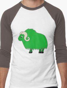 Green Buffalo with Horns Men's Baseball ¾ T-Shirt
