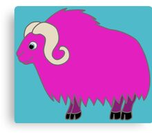 Hot Pink Buffalo with Horns Canvas Print