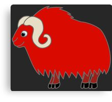 Red Buffalo with Horns Canvas Print