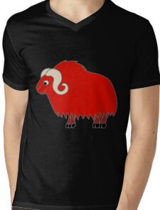 Red Buffalo with Horns Mens V-Neck T-Shirt