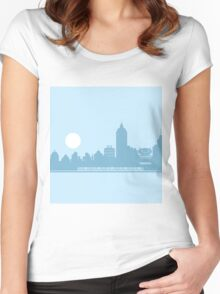 City Skyline with Robot Women's Fitted Scoop T-Shirt