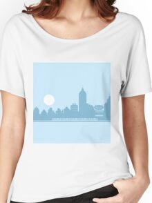City Skyline with Robot Women's Relaxed Fit T-Shirt