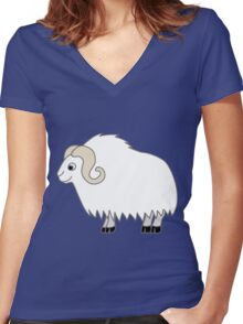 White Buffalo with Horns Women's Fitted V-Neck T-Shirt