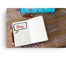 Written text BLOG on notebook  Canvas Print