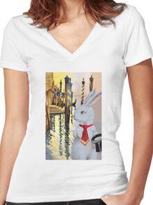 White Rabbit in Venice Women's Fitted V-Neck T-Shirt