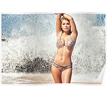 Sexy Young Blonde Bikini Model Posing on Hawaiian Beach Poster