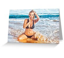Sexy Young Bikini Model Posing on a Hawaiian Beach Greeting Card