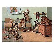 Louis Wain - Kittens Creating a CATastrophy Photographic Print