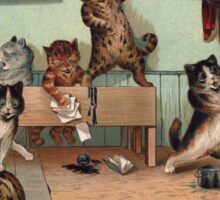 Louis Wain - Kittens Creating a CATastrophy Sticker