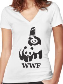 panda wwf Women's Fitted V-Neck T-Shirt