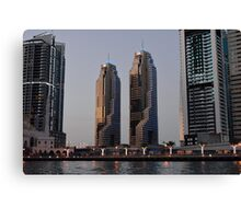 Photography of tall buildings from Dubai Marina, UAE. Canvas Print