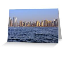 Photography of tall buildings from Dubai Marina, UAE. Greeting Card