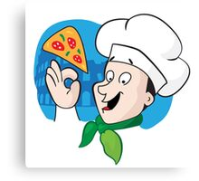 Cartoon chef with pizza Canvas Print