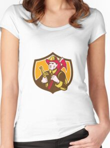 Fireman Firefighter  Axe Hose Crest Woodcut Women's Fitted Scoop T-Shirt