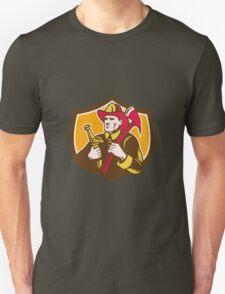 Fireman Firefighter  Axe Hose Crest Woodcut T-Shirt