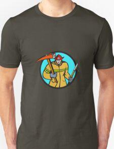 Fireman Firefighter Fire Axe Hook Circle Retro T-Shirt