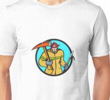 Fireman Firefighter Fire Axe Hook Circle Retro Unisex T-Shirt