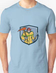 Fireman Firefighter Fire Axe Hook Crest Retro Unisex T-Shirt