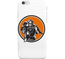 Fireman Firefighter Saving Girl Circle Woodcut iPhone Case/Skin