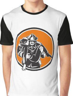 Fireman Firefighter Saving Girl Circle Woodcut Graphic T-Shirt