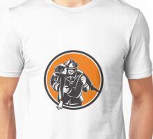 Fireman Firefighter Saving Girl Circle Woodcut Unisex T-Shirt