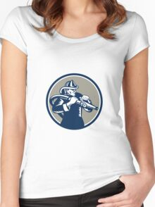 Vintage Fireman Firefighter Aiming Hose Circle Woodcut Women's Fitted Scoop T-Shirt