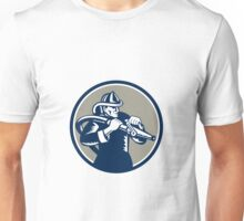 Vintage Fireman Firefighter Aiming Hose Circle Woodcut Unisex T-Shirt