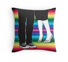 let's meet at the rainbow (two people awesome shoes) Throw Pillow