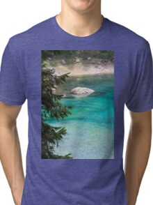 landscape of  blue lake in the mountain Tri-blend T-Shirt