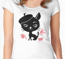 Cat silhouette in hat Women's Fitted Scoop T-Shirt
