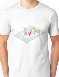 NYC Buildings Map on Tablet Unisex T-Shirt