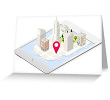 NYC Buildings Map on Tablet Greeting Card