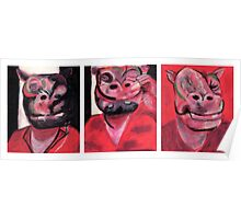 Hippo Triptych Poster