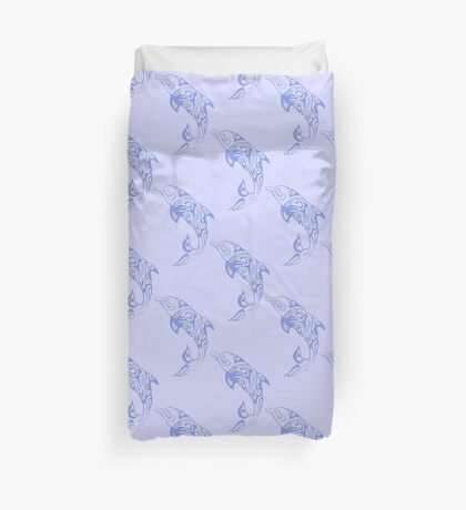 Dolphins Leaping Pattern Baby Blue Duvet Cover