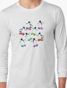 Skating Penguins - a cute hand drawn pattern Long Sleeve T-Shirt