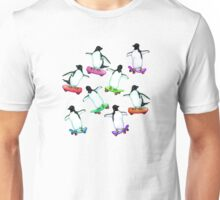 Skating Penguins - a cute hand drawn pattern Unisex T-Shirt