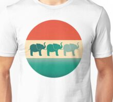 Three Elephants - Burnt orange, cream & teal Unisex T-Shirt