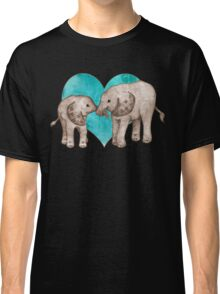 Baby Elephant Love - sepia on teal watercolour Classic T-Shirt