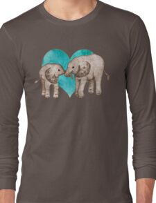 Baby Elephant Love - sepia on teal watercolour Long Sleeve T-Shirt