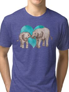 Baby Elephant Love - sepia on teal watercolour Tri-blend T-Shirt