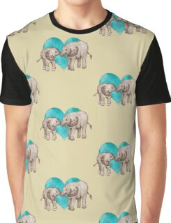 Baby Elephant Love - sepia on teal watercolour Graphic T-Shirt
