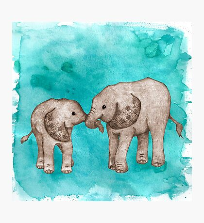 Baby Elephant Love - sepia on teal watercolour Photographic Print