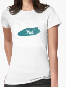 Yes print on green blue paint smear Womens Fitted T-Shirt