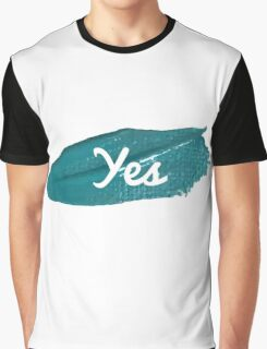 Yes print on green blue paint smear Graphic T-Shirt