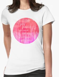 Inspirational Text on Pink Watercolor Abstract Womens Fitted T-Shirt